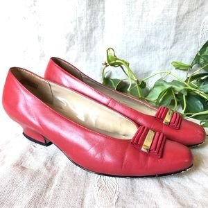 Vintage Etienne Aigner Red Leather Pumps